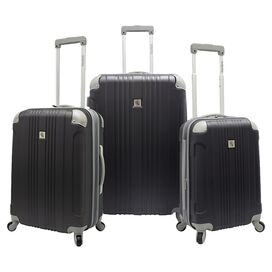 3-Piece Beverly Rolling Luggage Set in Gray