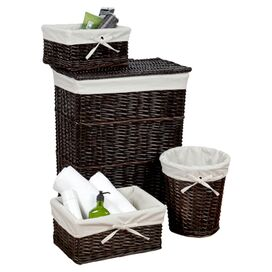 4-Piece Willow Basket Set in Walnut