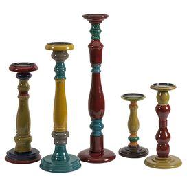 5-Piece Jasper Candleholder Set