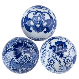 Manchu Porcelain Ball Decor (Set of 3)