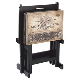 5-Piece Wines Of The World Tray Table & Stand Set