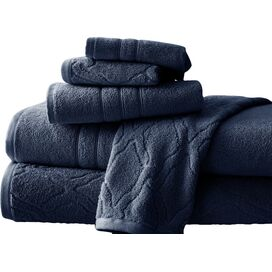 6-Piece Jacquard Egyptian Cotton Towel Set in Navy