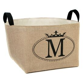 Personalized Burlap Storage Basket