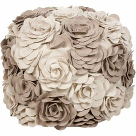 Flora Pouf in Beige & Taupe