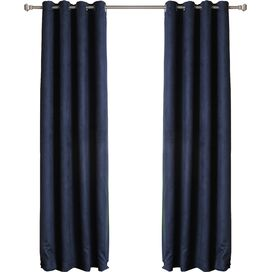 Faux Suede Thermal Blackout Grommet Curtain Panel in Navy (Set of 2)