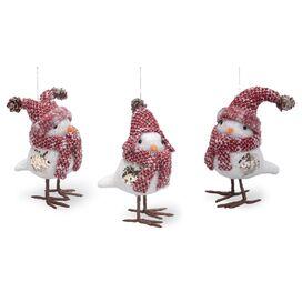 3-Piece Tailed Baby Bird Ornament Set