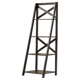 Alanna Ladder Bookcase in Black