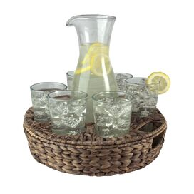 8-Piece Glass & Wicker Beverage Set