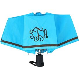 Personalized Umbrella in Brown & Aqua