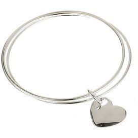 Sterling Silver Two Hearts Triple Bangle Bracelet