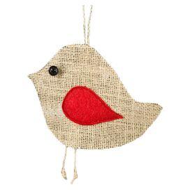 Burlap Birdie Ornament (Set of 6)