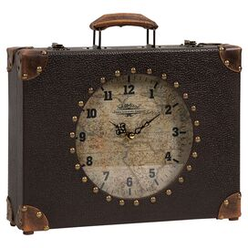 World Map Suitcase Clock