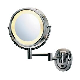 Lighted Wall-Mount Magnifying Mirror in Chrome
