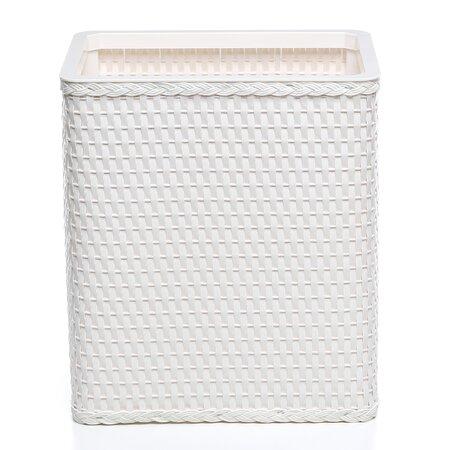 Rattan Wastebasket in White