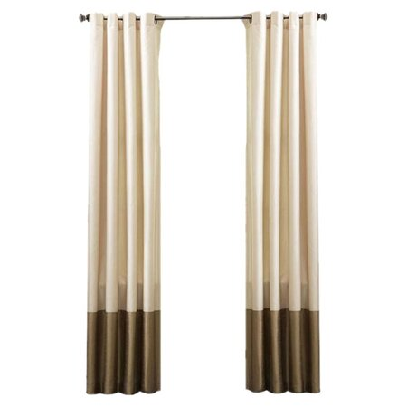 Faux Silk Grommet Curtain Panel in Ivory & Taupe (Set of 2)