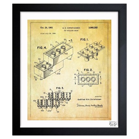 Lego Toy Building Brick 1961 Framed Print, Oliver Gal
