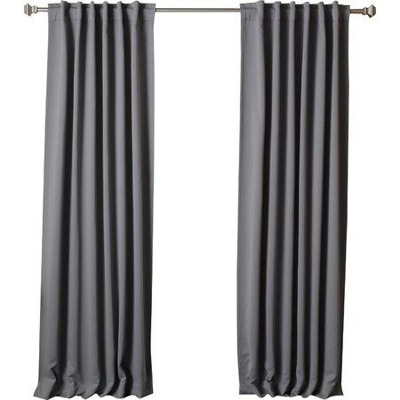 Thermal Insulated Blackout Rod Pocket Curtain Panel in Dark Gray (Set of 2)