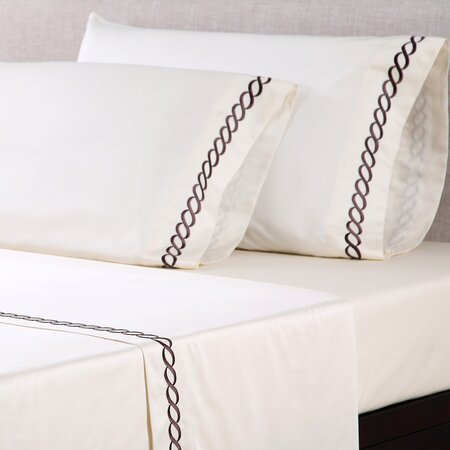 600 Thread Count Embroidered Cotton Sheet Set in Ivory & Chestnut