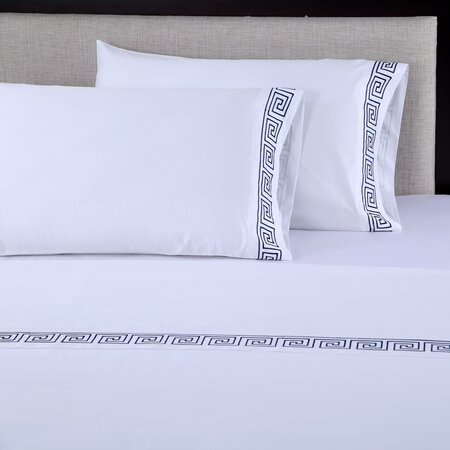 600 Thread Count Embroidered Cotton Sheet Set in White & Navy