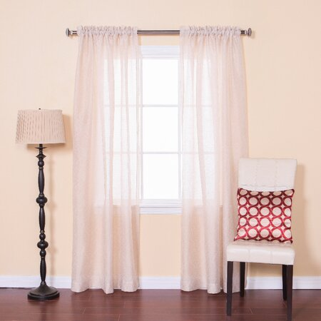 Sheer Damask Rod Pocket Curtain Panel (Set of 2)