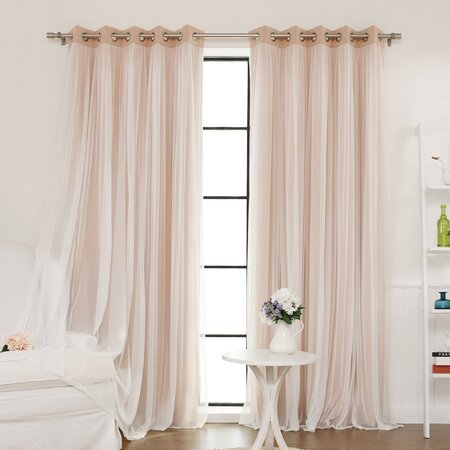 Sheer Thermal Blackout Grommet Curtains in Pink (Set of 2)