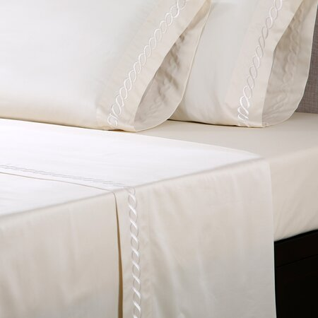 600 Thread Count Embroidered Cotton Sheet Set in Ivory & Taupe