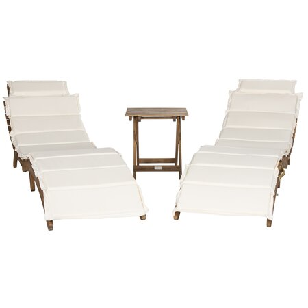 3-Piece Pacifica Acacia Lounger Set in Beige