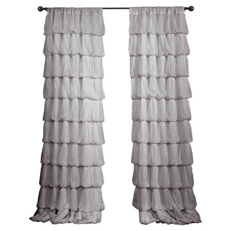 Ruffled Sheer Rod Pocket Curtain Panel