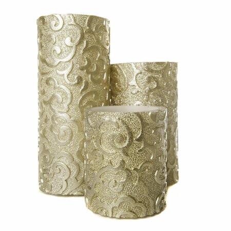 Holiday Collection Flameless 3 Piece Pillar Candle Set with Remote